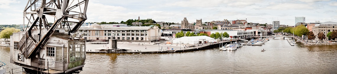 A shot of Bristol harbourside and docks