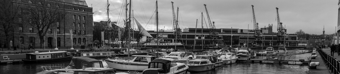A shot of Bristol Harbour - black and white